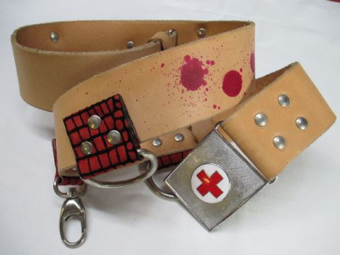 Nude Leather Red Spatter Nurse Utility Cosplay Belt (Code EK2)